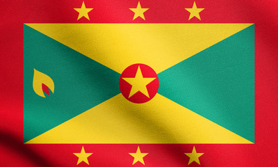 Flag of Grenada waving with fabric texture