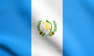 Flag of Guatemala waving with fabric texture