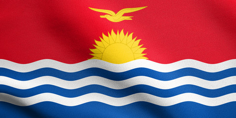 Flag of Kiribati waving with fabric texture
