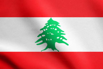 Flag of Lebanon waving with fabric texture