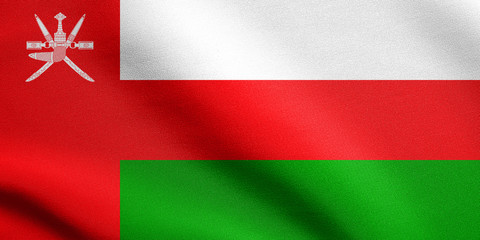Flag of Oman waving with fabric texture
