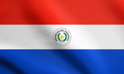 Flag of Paraguay waving with fabric texture