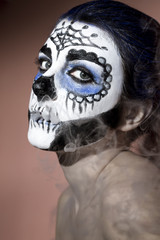 Halloween make up sugar skull Santa Muerte concept.