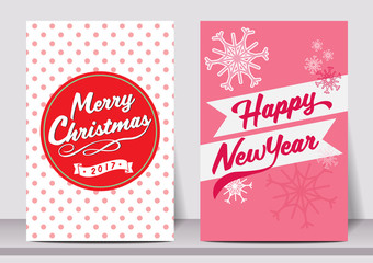 Merry Christmas Happy new year  typography flyer template with lettering. greeting card, Poster, card, label, banner design set. Vector illustration EPS10