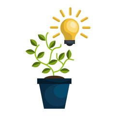 green plant in a pot and bulb light idea. vector illustration