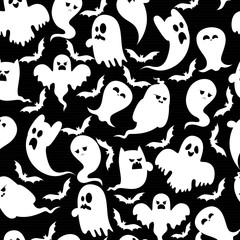 Set of cartoon spooky ghost and bats character