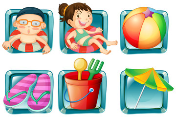 Kids and beach objects square badges