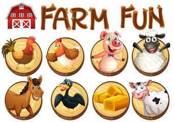 Farm animals on round buttons