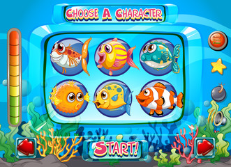 Computer game template with fish as characters