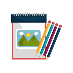 sketch creative notepad with colors pencils. vector illustration