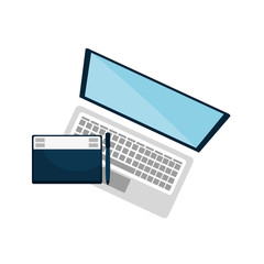 laptop computer device with graphic tablet. vector illustration