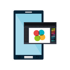 smartphone technology device and creative graphic design program