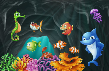 Scene with sea animals underwater