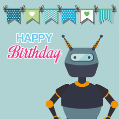 happy birthday card with robots theme. colorful design. vector illustration