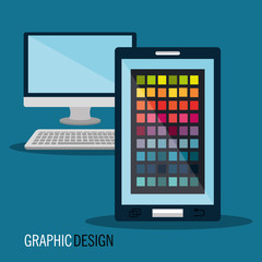 computer and smartphone devices graphic design equipment. vector illustration