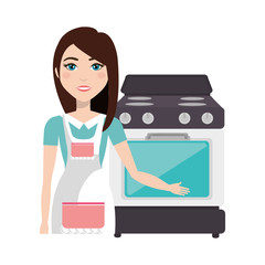 avatar cooker woman smiling with stove kitchen device. vector illustration