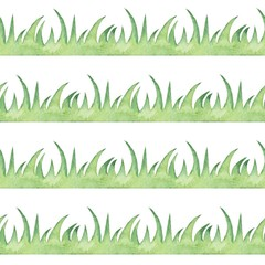Seamless border with grass. Watercolor painting.  Element for design, Isolated on white