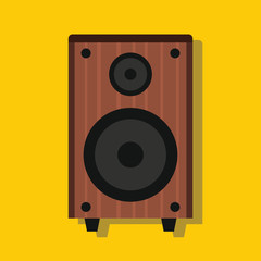 Audio speaker in flat style with shadow