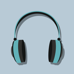 Headphones in flat style with shadow