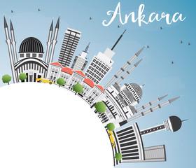 Ankara Skyline with Gray Buildings, Blue Sky and Copy Space.