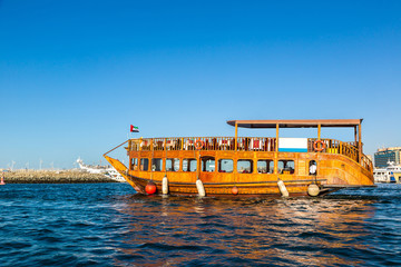 Old wooden ship in Dubai