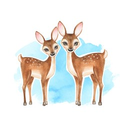 Deers. Hand drawn cute fawns. Cartoon illustration. Watercolor painting