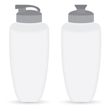 White Thermos bottle set of Front and Side view isolated on white background.