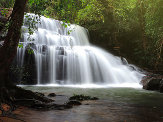 Soft focus image,Waterfall in nature of Thailand.