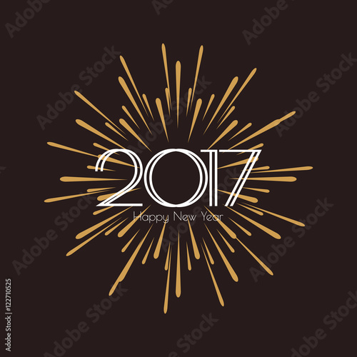 2017 happy new year beautiful greeting card calligraphy white text word gold fireworks hand