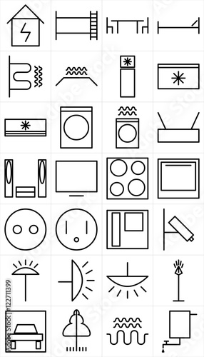 Set of black and white symbols of home appliance electrical devices ...