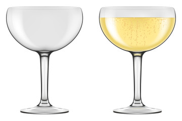 Champagne Coupe type glasses. Photo-realistic vector illustration.