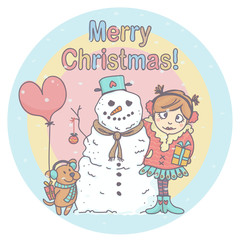 Cute winter cartoon with girl, snowman and little dog, celebrating Christmas while snowflakes are falling. Colorful Christmas illustration.