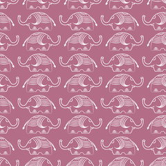 Seamless pattern with elephants and flowers. Background for textile, baby shower, greeting card, wrapping. Floral ornament.
