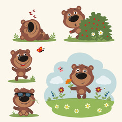 Vector set funny teddy bear in different poses on summer meadow with flowers