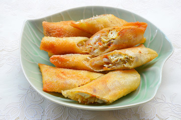 Crispy golden fried vegetable spring rolls