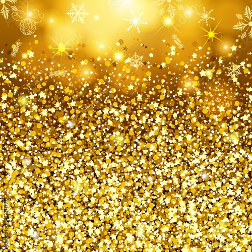 Abstract Gold Background. Golden Sparkling Sequins. Set Design