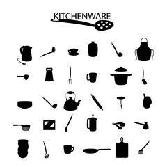 kitchenware icons on the white background