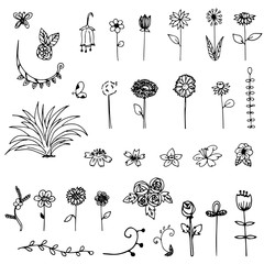 set of free hand drawing sketch flower doodle vector on white background