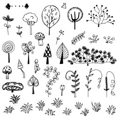 flower and tree doodle from free hand  drawing vector set