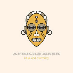 Vector logo African masks and religious ceremonies.