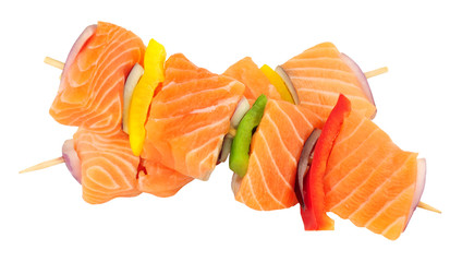 Raw Salmon And Sweet Pepper Kebabs