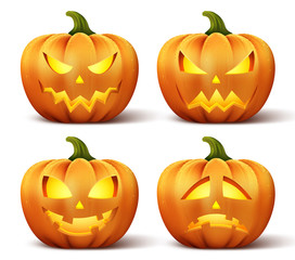 Vector pumpkins with set of different faces for halloween icons and decorations isolated in white background. Vector illustration.