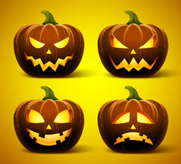 Halloween pumpkins in vector with set of different faces for icons and decorations in dark background. Vector illustration.
