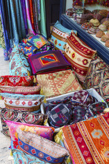 Colorful turkish fabric samples on the market..
