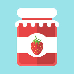 Glass strawberry jam jar