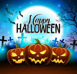 Pumpkins for happy halloween in the cemetery with creepy face in dark night with moon and bats in background. Vector illustration.