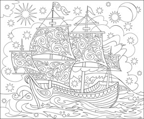 Page with black and white illustration of fantasy fairyland ship for coloring. Worksheet for children and adults. Vector image.