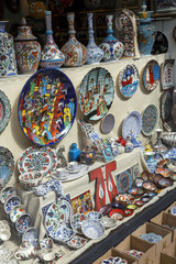 Collection of turkish ceramics on Grand Bazaar, Istanbul, Turkey