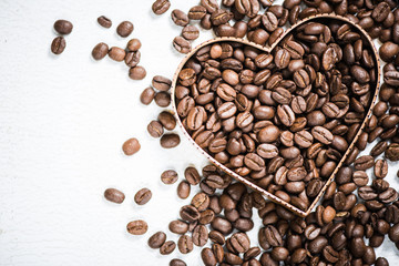 Heart shape symbol with coffee