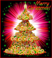 Greeting card with Christmas tree and Baltic national cookies, vector cartoon image.